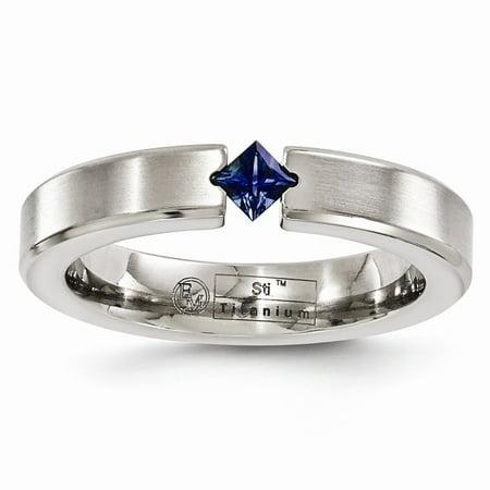 Titanium Brushed Sapphire Wedding Band Ring Size 9.5