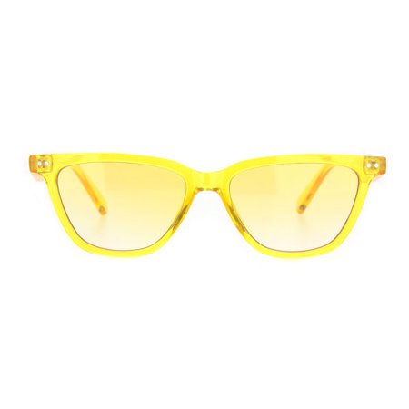 Womens Pop Color Narrow Thin Cat Eye Plastic Sunglasses Yellow