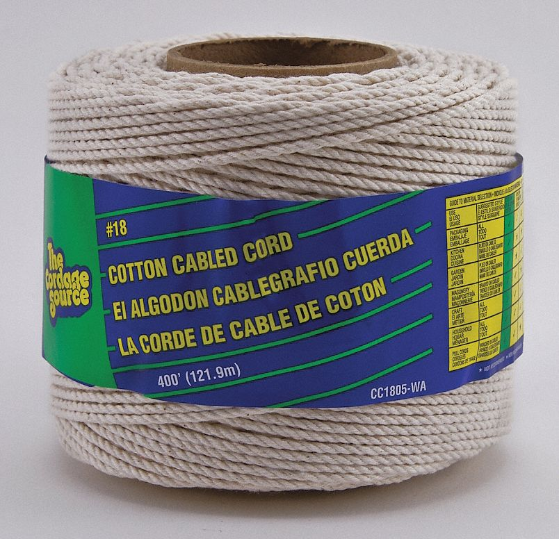 "1 16"" dia. Cotton Twine Tying and Bundling Rope, White, 400 ft. by"
