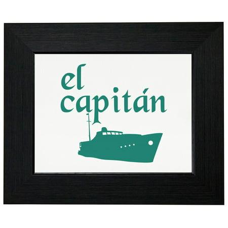 El Capitan Boat Captain Graphic Marine Framed Print Poster Wall or Desk Mount Options (El Captain Wall)