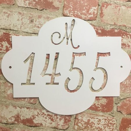 Metal Unlimited Initial Metal 2-Line Wall Address Plaque - 1 Line Lawn Address Plaque