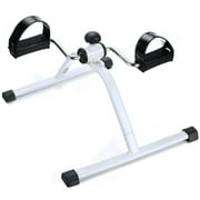 Mini Exercise Bike Leg Pedal Exerciser Folding Upper & Lower Body Cycle - White