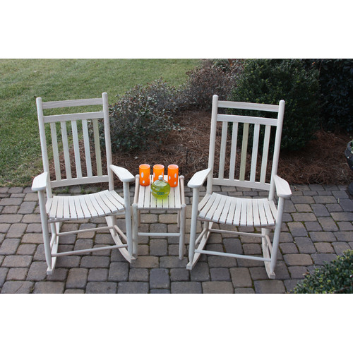 Dixie Seating Company 3 Piece Adult Slat Seat Porch Rocking Chair and Table Set