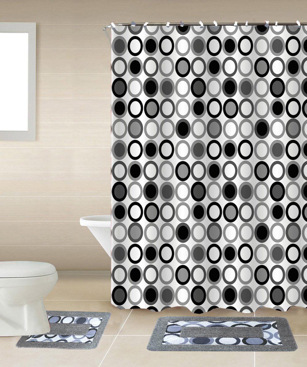 Circles Black & White 15-Piece Bathroom Accessory Set: 2 Bath Mats, Shower Curtain & 12... by