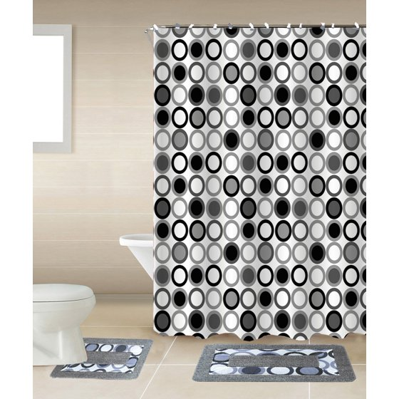 Circles Black & White 15-Piece Bathroom Accessory Set: 2 Bath Mats, Shower Curtain & 12 Fabric