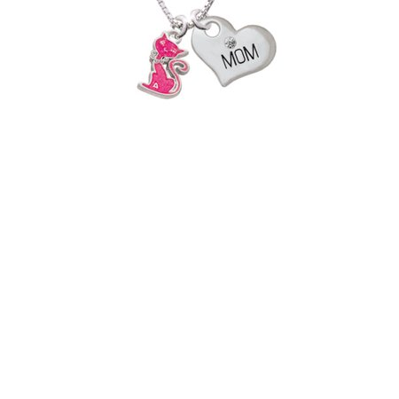 Hot Pink Glitter Cat Mom Heart Necklace  18  2