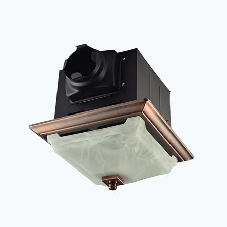 Decorative Oil Rubbed Bronze 110CFM Ceiling Bath Fan with Light and Glass