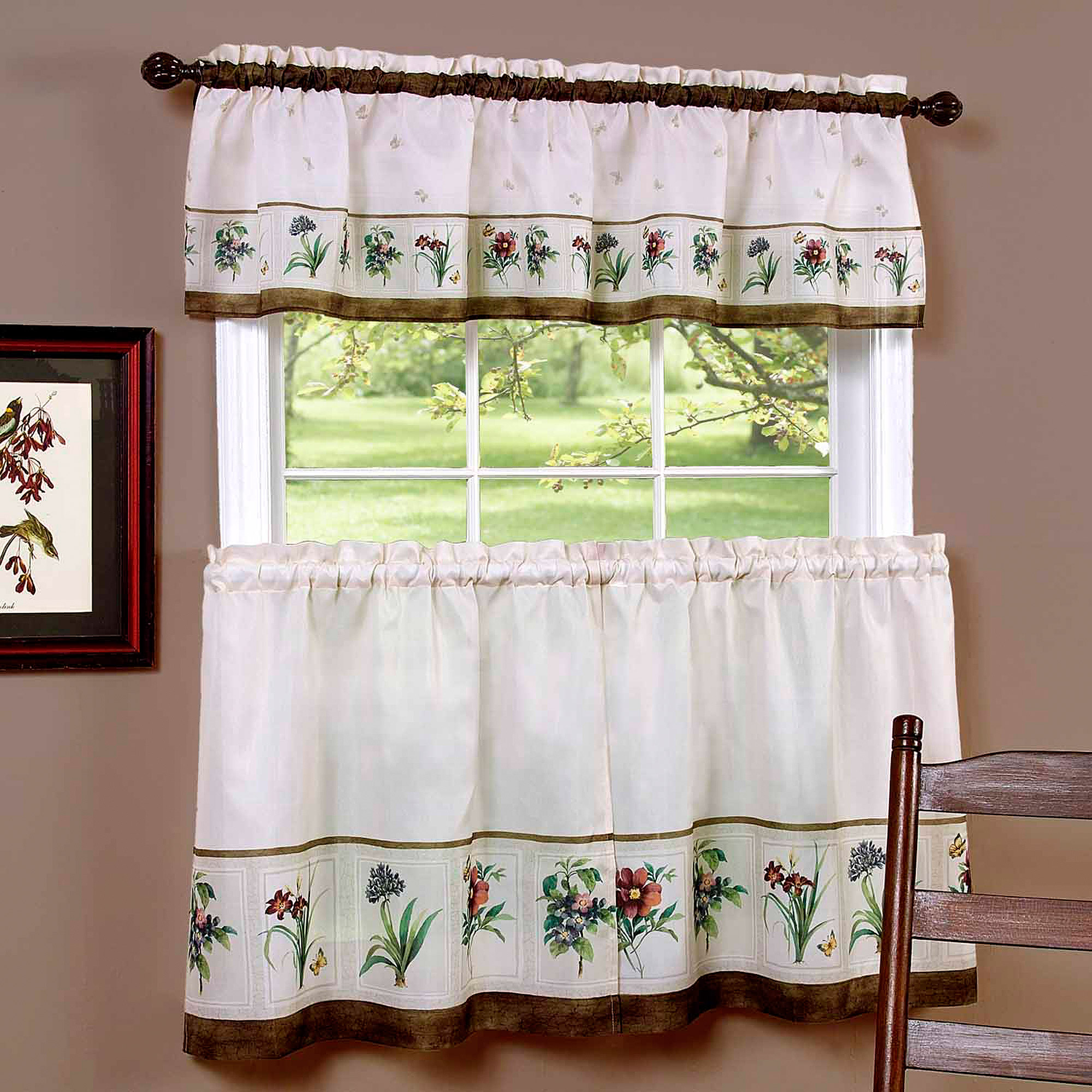 Kitchen cafe curtain patterns - Pioneer Woman Kitchen Curtain And Valance 3pc Set Country Garden Walmart Com