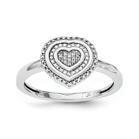 925 Sterling Silver Rhodium Plated Diamond Heart Ring Size 6 (0.019ct,G-H)](Silver Diamond)
