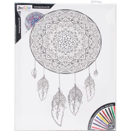 adult coloring canvas 16 x 20 with 12 markers dreamcatcher