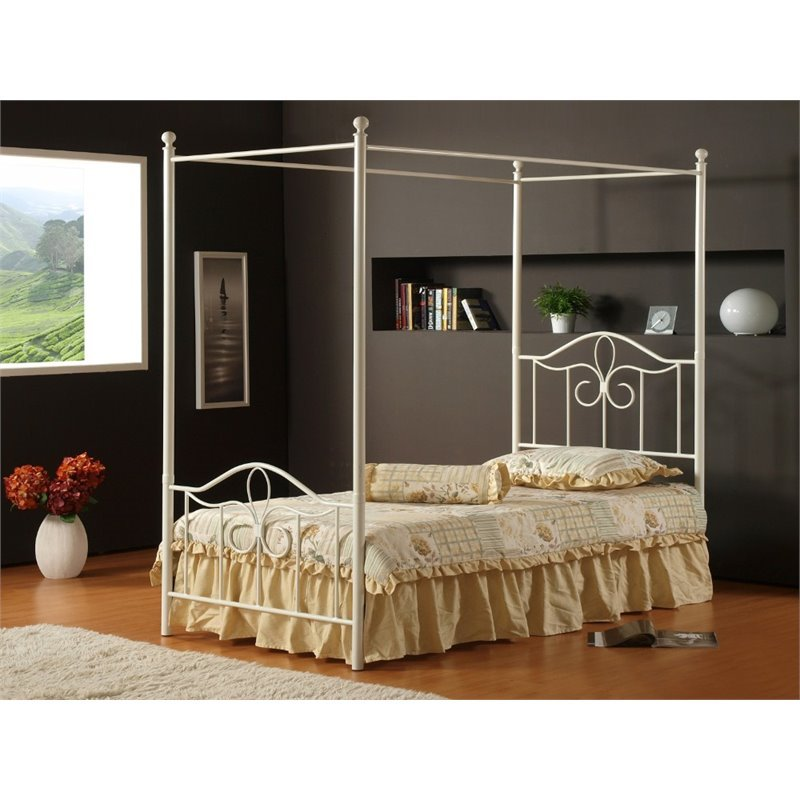 Hawthorne Collections Full Canopy Bed in Off White