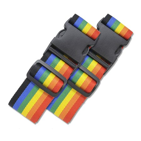 2 Pack Luggage Straps Set Suitcase Belts Neon Rainbow Luggage Tags Set Neon Luggage Strap TSA Approved Carry On Luggage