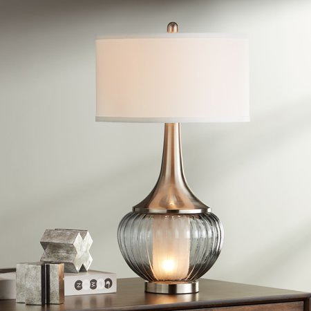 360 Lighting Modern Table Lamp with Nightlight Fluted Smoked Glass Brushed Nickel White Linen Drum Shade for Living Room Family