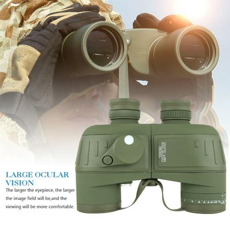 Binoculars for Adults 10X50 Marine Military Binoculars Waterproof Fogproof with Compass Rangefinder BAK4 Prism Lens for Navigation Birdwatching Boating and (Bronica Prism Finder)