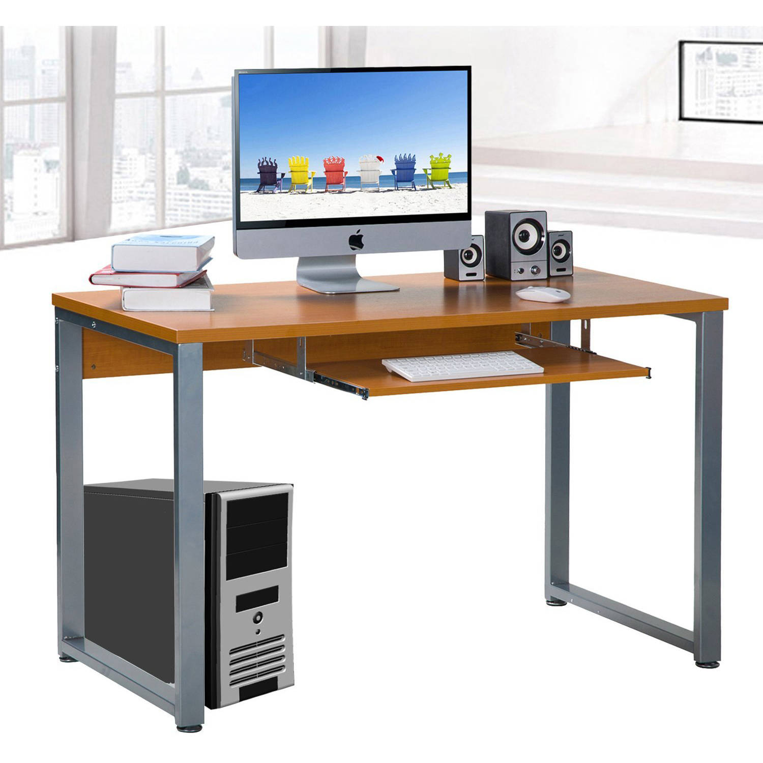 Large Rectangular Computer Desk Office Desk With Keyboard Tray, Espresso