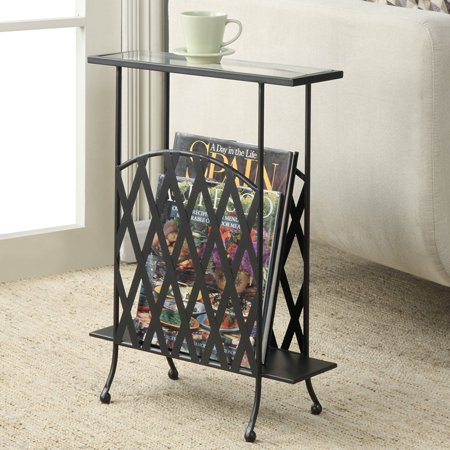 Convenience Concepts Wyoming Glass Top Chair Side Table