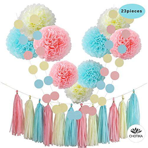 23 Pcs Tissue Paper Flowers Pom Poms Party Decorations Tassel