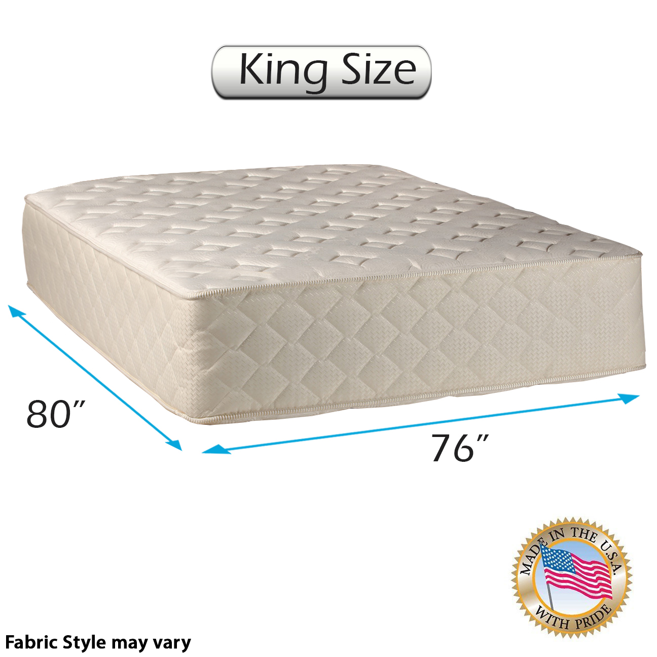 "Highlight Luxury Firm King Size (76""x80""x14"") Mattress Only - Fully Assembled - Spinal Back Support, Innerspring Coils, Premium edge guards, Longlasting Comfort - By Dream Solutions USA"