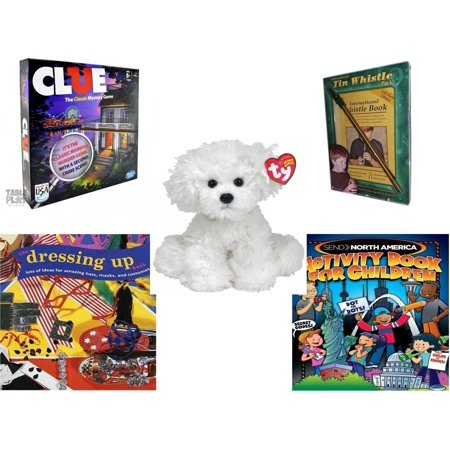 Children's Gift Bundle [5 Piece] -  Clue  - International Tin Whistle Gift Pack Edition  - Ty Lollipup Bichon Frise 5