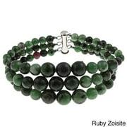 Pearlz Ocean Sterling Silver Triple Strand Journey Beads Bracelet for Women February Purple Amethyst Purple