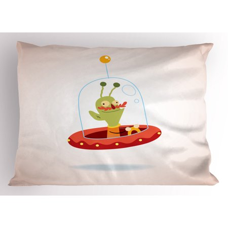 Sci Fi Characters Halloween (Astronaut Pillow Sham Cute Alien from Outer Space Childish Character Extraterrestrial Sci Fi Creature, Decorative Standard Size Printed Pillowcase, 26 X 20 Inches, Multicolor, by)