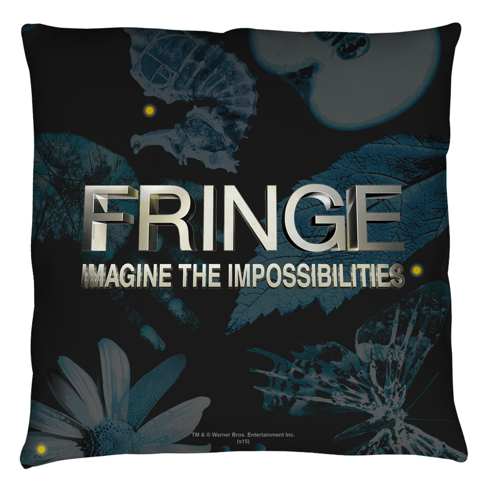 Fringe Logo Throw Pillow White 18X18