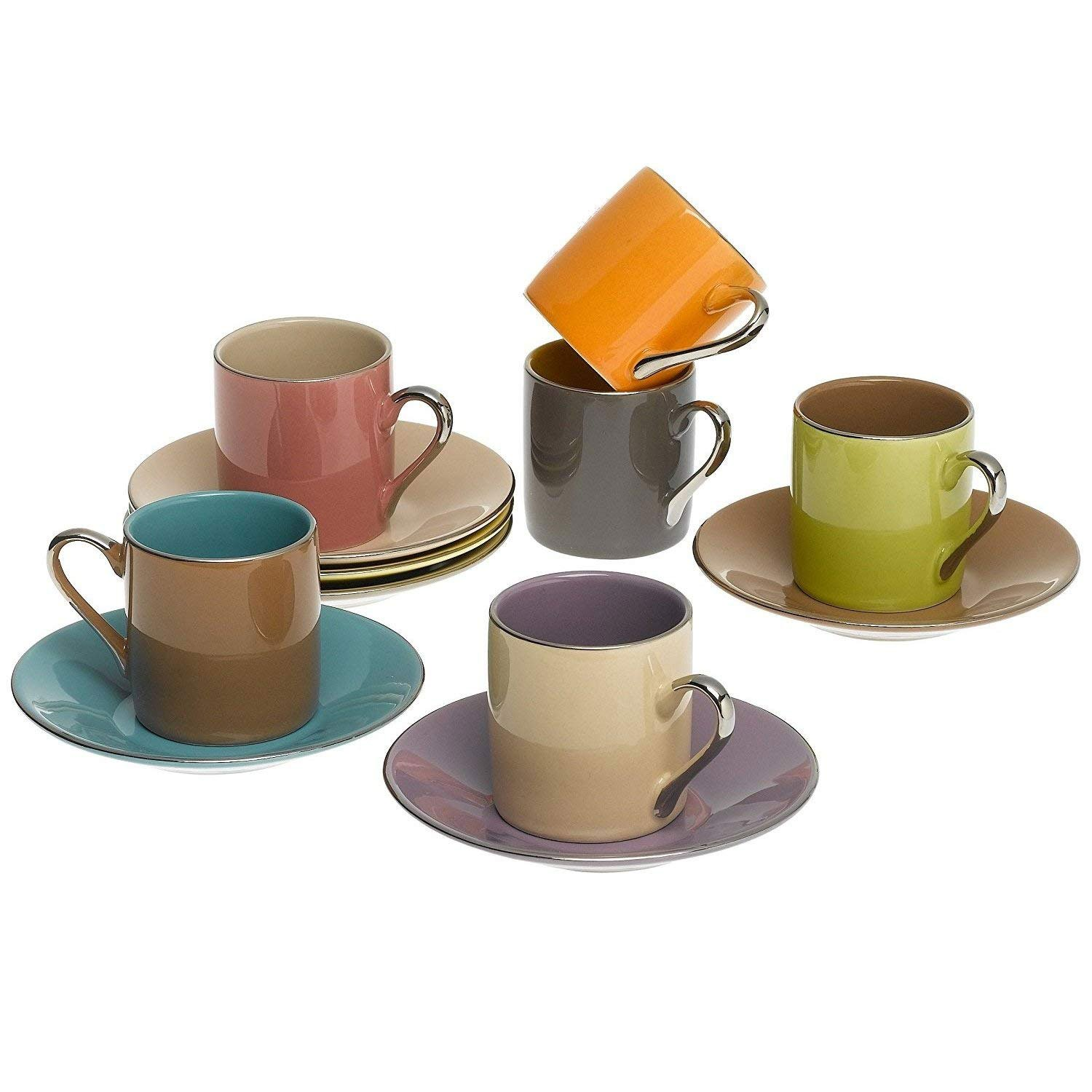 Yedi Houseware Classic Coffee and Tea Siena Teacups and Saucers, Set of 6