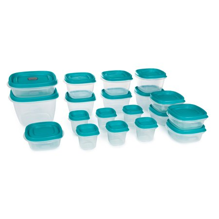 Rubbermaid Easy Find Vented Lids Food Storage Containers, Set of 19 (38 Pieces Total) Plastic Containers|Reusable & Stackable Meal Prep Containers, Teal