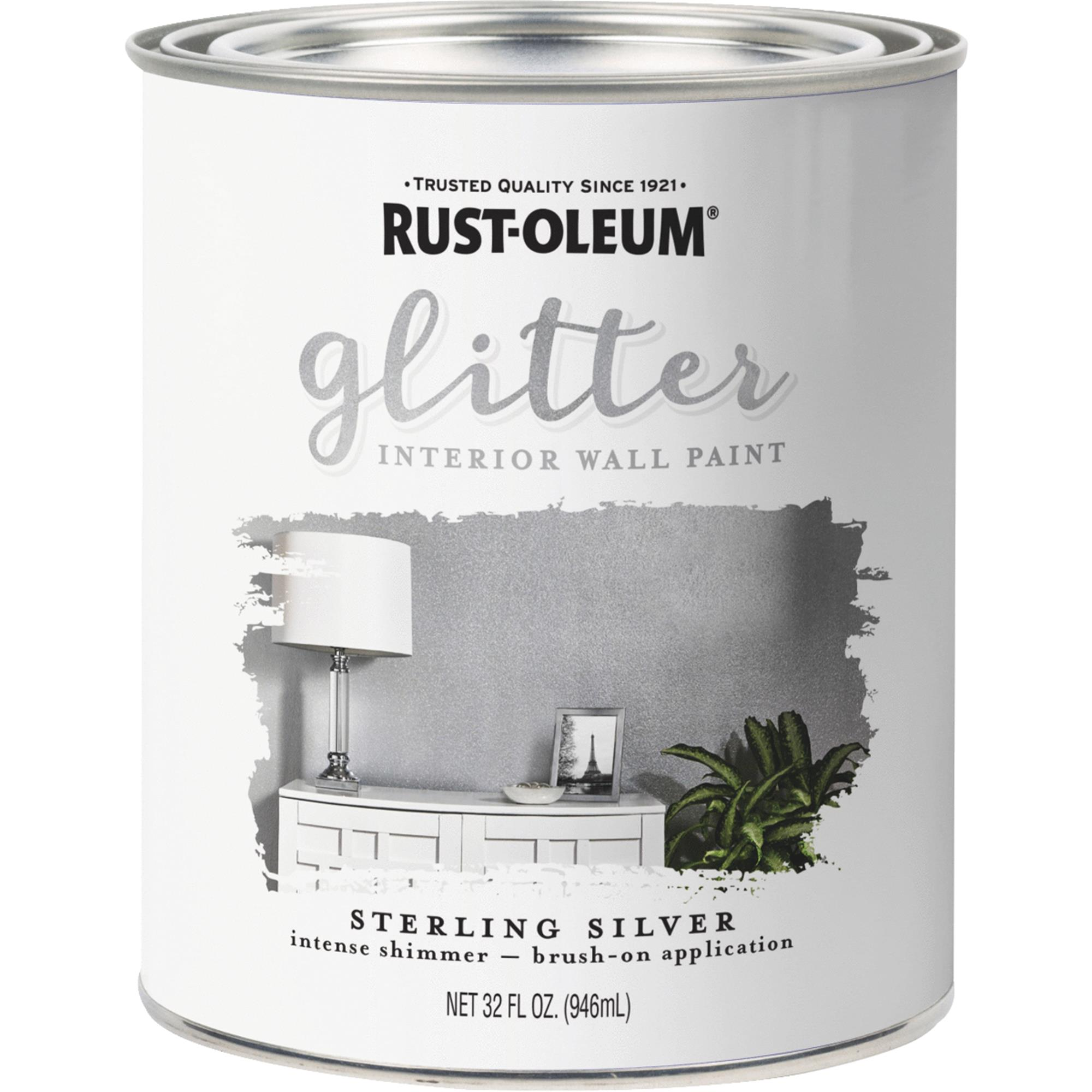 Rust-Oleum Sterling Silver Glitter Interior Wall Paint, Qt