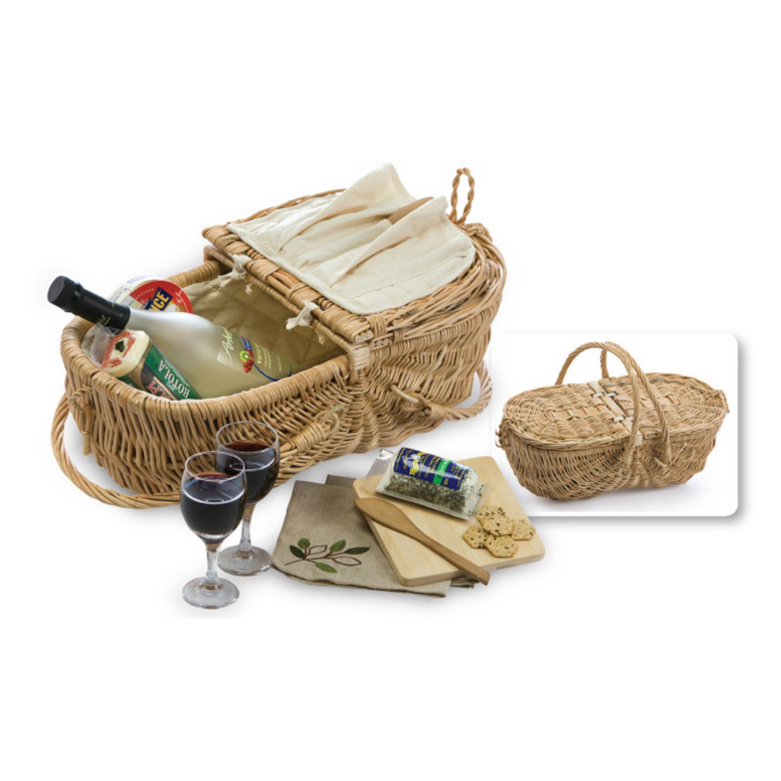 Picnic Plus Eco Wine and Cheese Basket - Natural