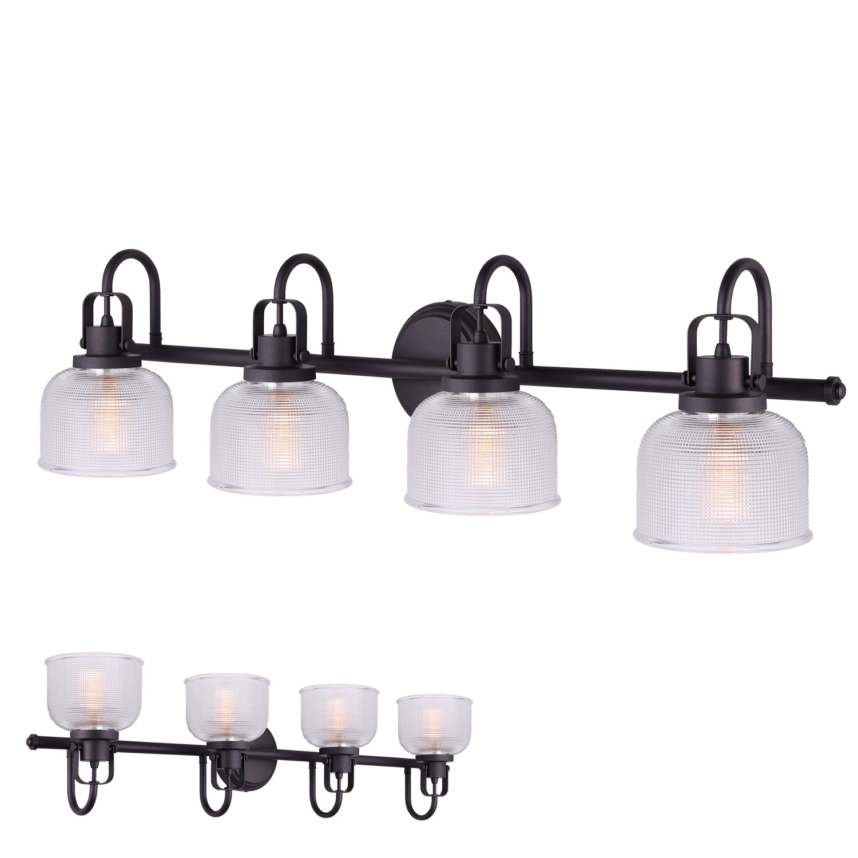 Oil Rubbed Bronze Vanity Light 4 Bulb Bath Wall Fixture Clear Double Prismatic Glass Globes Walmart Com Walmart Com