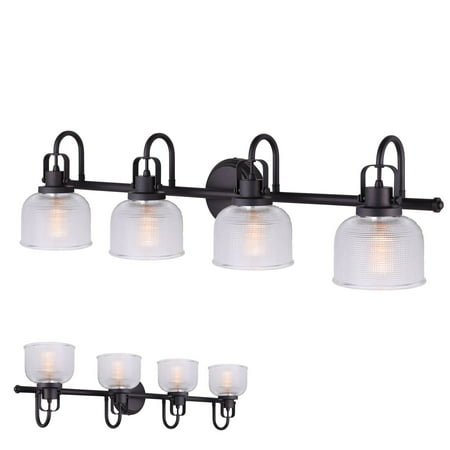 Oil Rubbed Bronze Vanity Light 4 Bulb Bath Wall Fixture Clear Double Prismatic Glass Globes