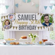 Personalized How Time Flies Photo Birthday Banner