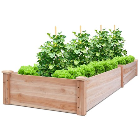Costway Wooden Vegetable Raised Garden Bed Patio Backyard ...
