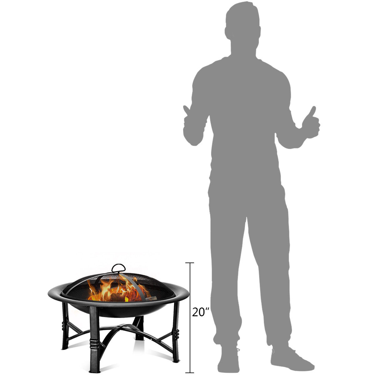 """30"""" Outdoor Fire Pit BBQ Portable Camping Firepit Heater Patio Garden Grill - image 1 of 10"""