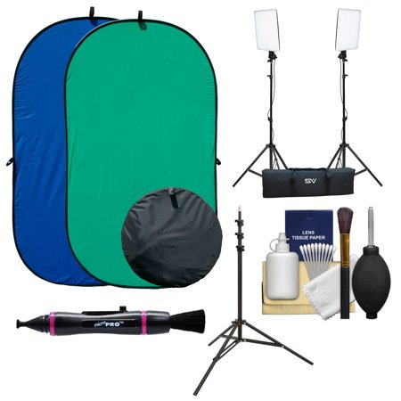 RPS Studio 4x7 Chroma Key Blue/Green Screen Reversible Twist-Fold Background with 2 LED Video Light Panels & Light Stands + (Chroma Key Digital Backgrounds)