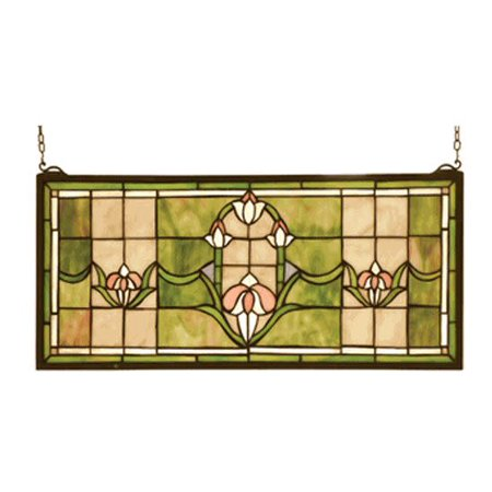 Tulips Transom Stained Glass (Antique Stained Glass Transom)