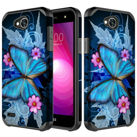 pretty nice f460e 767ce LG Fiesta 2 LTE, LG X Power 2 Case, LG X Charge, Slim Hybrid [Shock  Resistant] Dual Layer Protective Cover for LG Fiesta 2 - Blue Butterfly