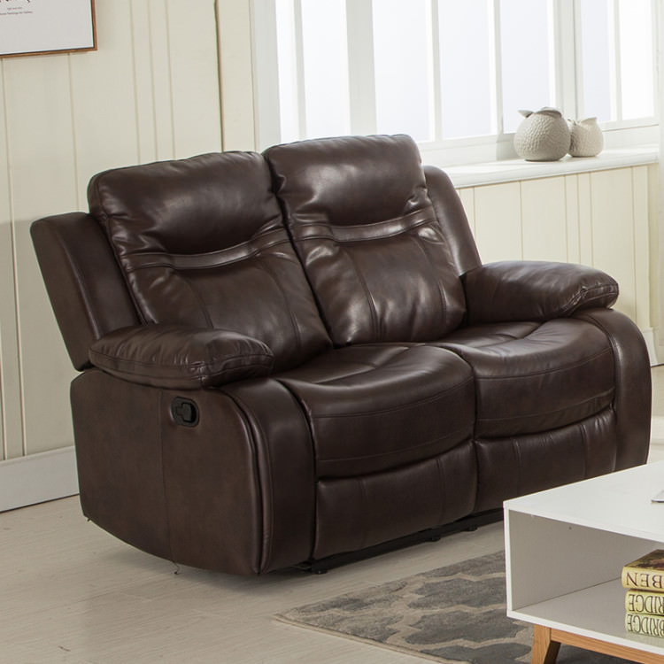 Brown Leather Air Double Recliner Loveseat by DK City