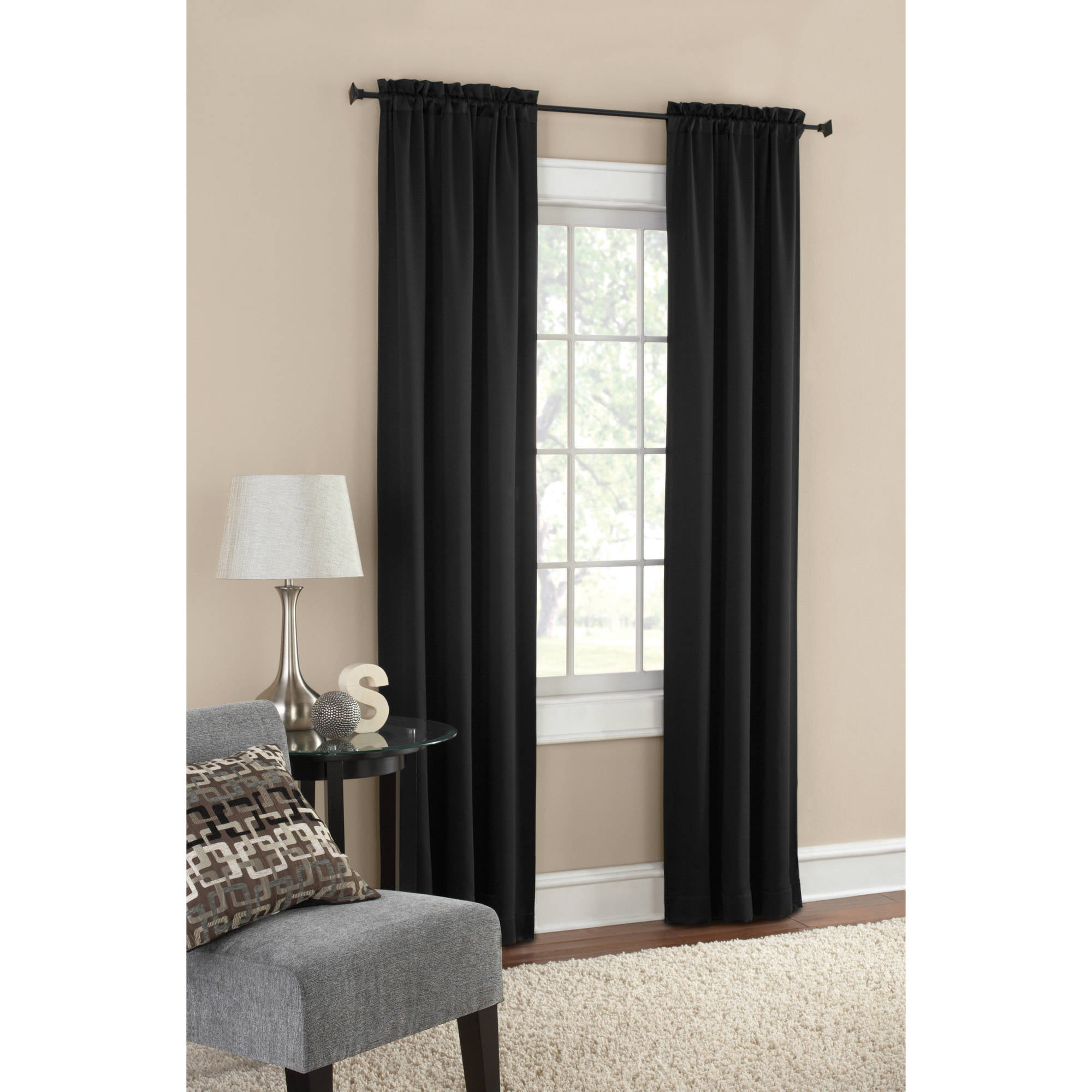 Mainstays Blackout Solid Woven Window Curtains Set Of Walmart Com