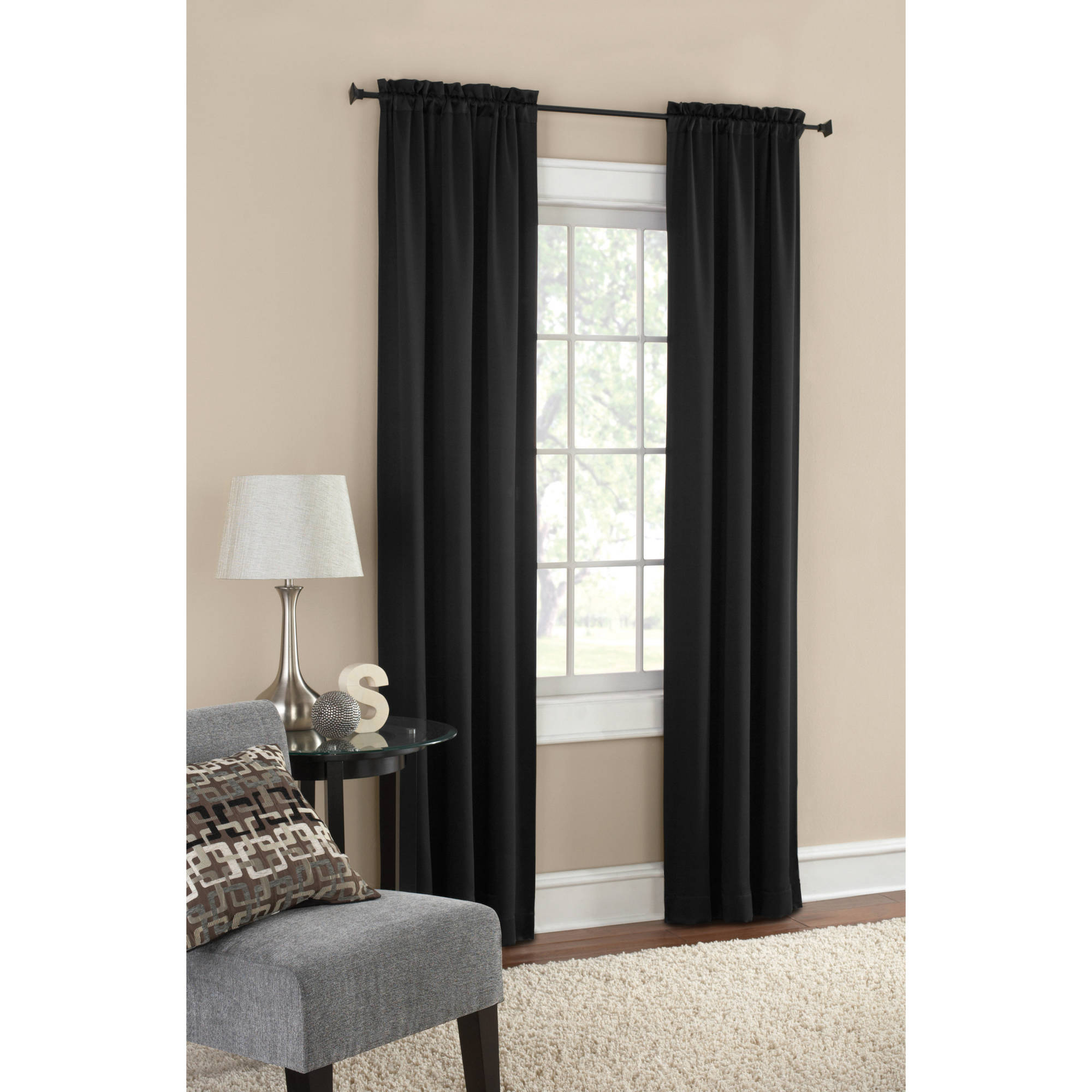 Black out curtains elegant valance curtains beaded valance curtains - Mainstays Blackout Solid Woven Window Curtains Set Of 2