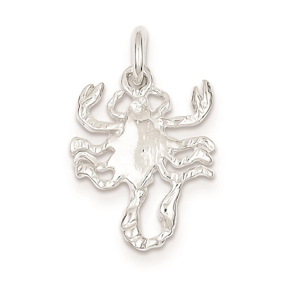 925 Sterling Silver Scorpion Polished Charm Pendant