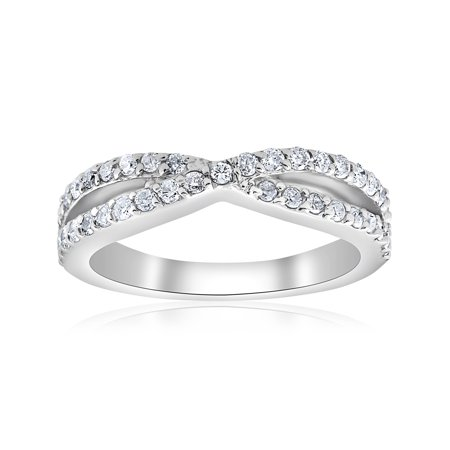 3/8Ct Diamond Crossover Infinity Stackable Wedding Band Twist Ring White (Crossover Diamond Wedding Band)