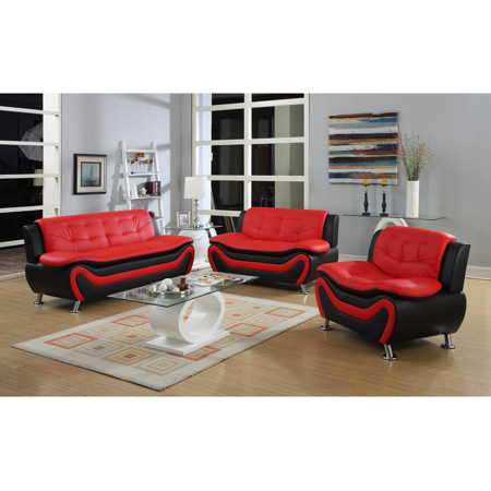 - Frady 3 pc Black and Red Faux Leather Modern Living Room Sofa set
