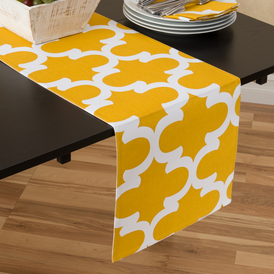 13 x 90 in. Mustard Yellow & White Trellis Table Runner by