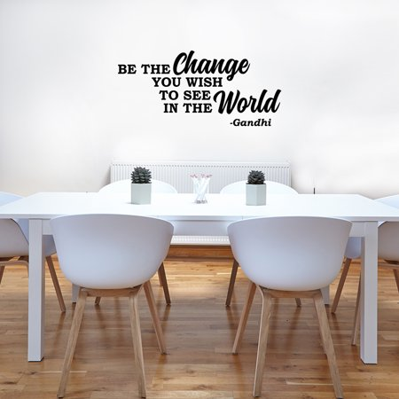 School Wall Decal Be The Change You Wish To See In The World Gandhi Quote Sayings Inspirational Classroom Lettering Vinyl Sticker Sign XJ602](Happy Halloween Wish Quotes)