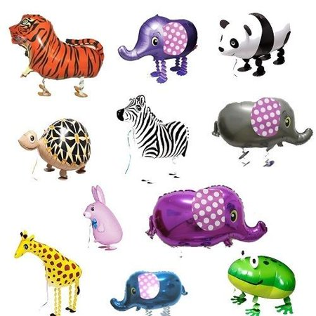 MY BALLOON STORE® TM SET OF 11 ZOO ANIMALS WALKING BALLOONS PET AIR WALKER HELIUM PARTY DECOR FUN for $<!---->