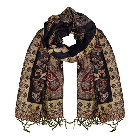 - Peach Couture Floral Peacock Reversible Shimmer Layered Pashmina Wrap Shawl Scarf (Ebony)