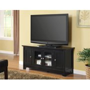 Wood TV Console w 4 Doors in Matte Black Finish