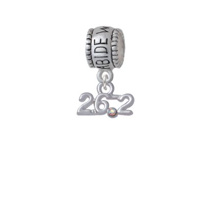 Marathon - 26.2 with Clear AB Crystal - Abide With Me Charm Bead